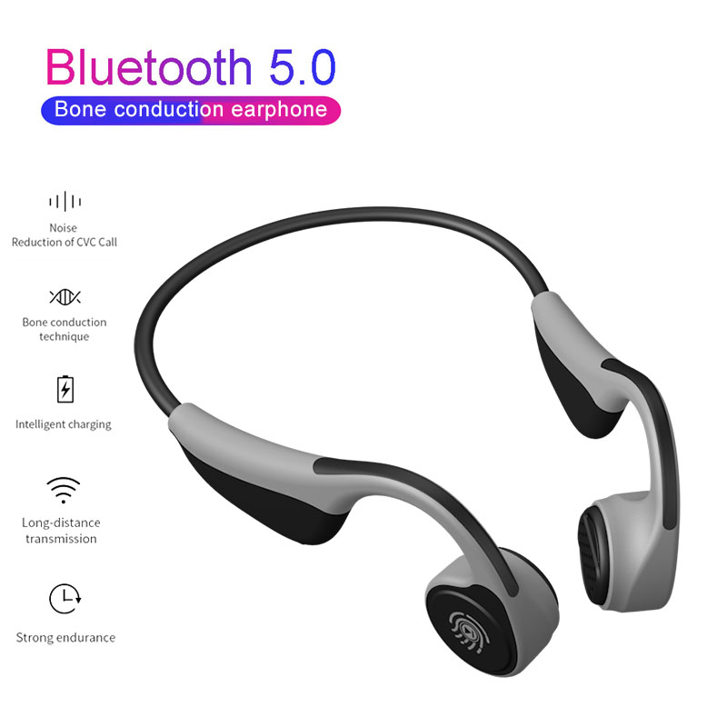 <font><b>Bluetooth</b></font> 5.0 Wireless Headphones Bone Conduction Earphone Outdoor Sport <font><b>Headset</b></font> Stereo Hifi <font><b>Headset</b></font> with Micr PK Z8 for xiaomi image