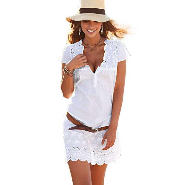 fab14a64557 Women Summer dress deep V Neck white Lace Dresses Short Sleeve Casual  evening party Beach mini Dress 2019 Elegant vestidos-in Dresses from Women s  Clothing ...