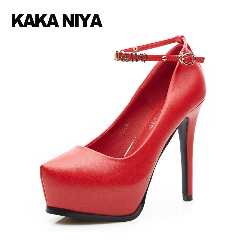 2017 Women Round Toe Ankle Strap 4 34 Small Size Red Extreme Pumps High Heels Chic Thin 12cm 5 Inch Sexy Platforms Shoes Fashion pumps rhinestone party pointed toe chic bridal shoes wedding stiletto extreme black 9cm 4 inch red 2017 34 small size women high