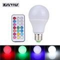 Wholesale 5pcs/lot E27 10W RGB + White Timing IR Remote Control Bulb Light 38 Leds 2835+5050SMD RGBW light bulbs for Christmas
