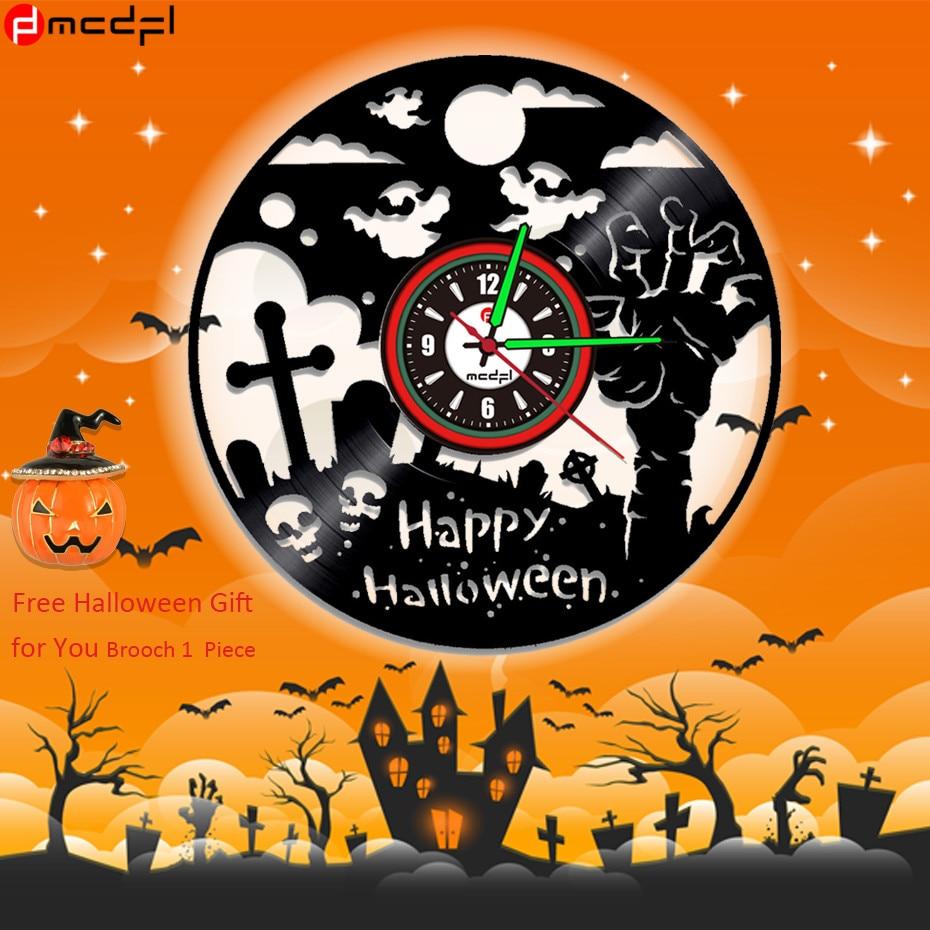 Хэллоуин вечерние аксессуары череп стены Стикеры светодиодный Хэллоуин Винил настенные часы световой клок Бесплатная брошь подарок