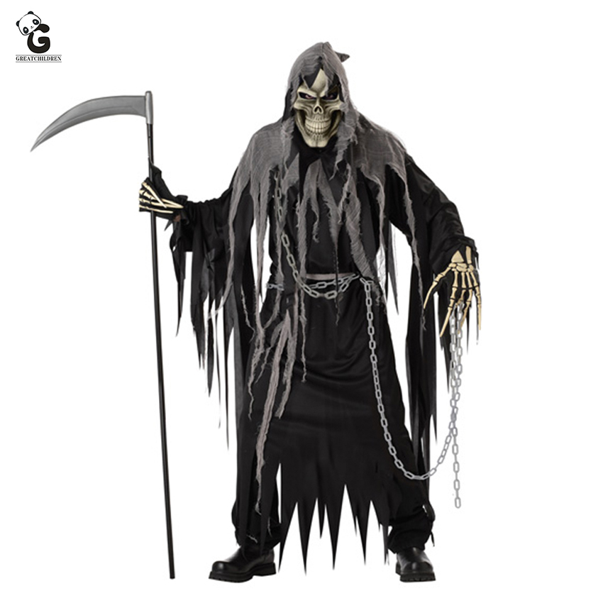 Glow In The Dark Screaming Ghost Ghoul Demon Hooded Mask Halloween Fancy Dress