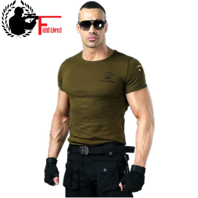 Men's Army T Shirt Summer US Military Clothing Cotton T shirt ...
