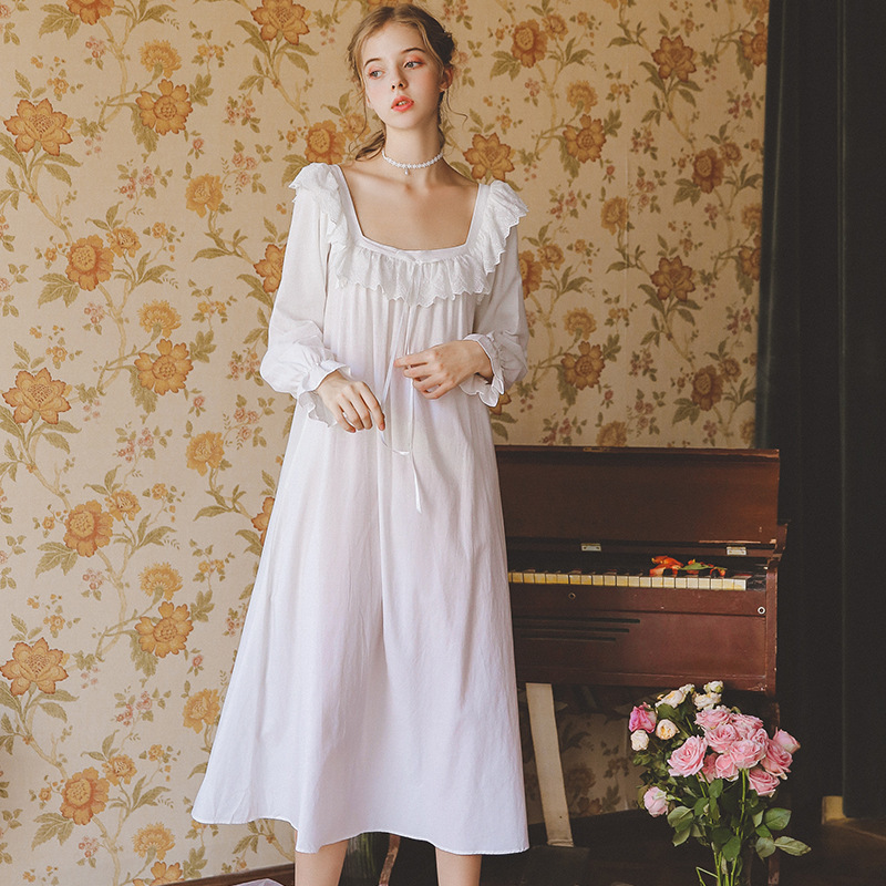 Cotton   Nightgowns     Sleepshirt   Long Dress Spring Nightwear Long Sleeve Sleepwear Princess Women Vintage   Nightgown   Pregnant Woman