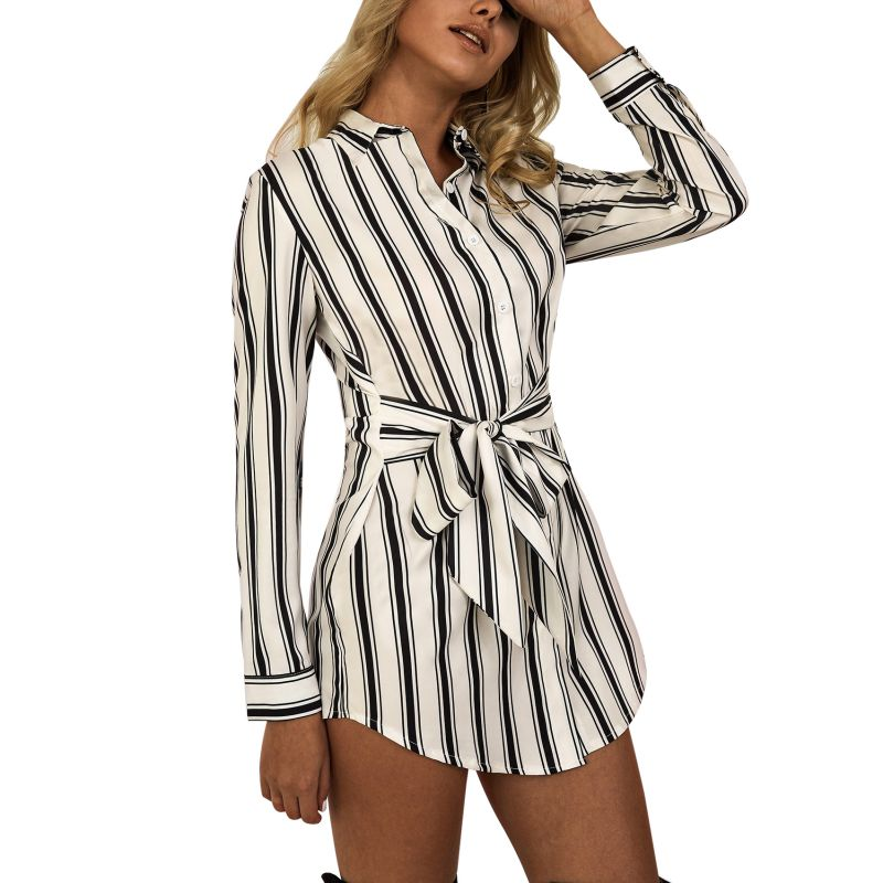 Women\'s Long Sleeve Single Breasted Irregular Dress Casual Striped Asymmetrical Sashes Turn-down Collar Dresses