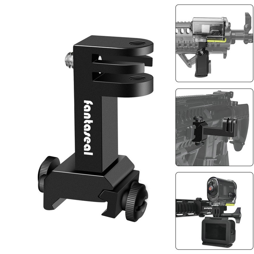 Action Camera Side Gun Mount Picatinny Rail Adapter Kit for Gopro Hero SONY FDX HDR Hunting Rifle Pistol Carbine AirsoftSports Camcorder Cases   -