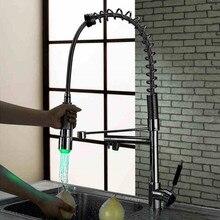 2016 новый полированной меди воды энергии красочный из светодиодов снести кухонный кран весной смеситель для гусенек нажмите