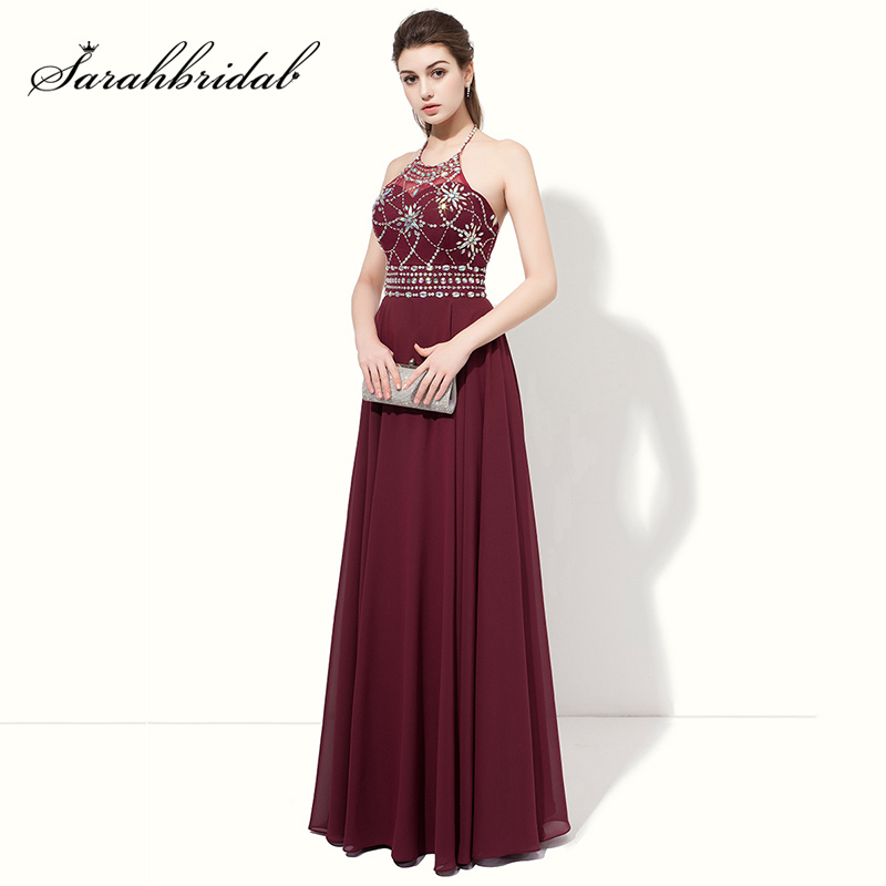 2018 Long Sexy Halter   Prom     Dresses   with Shining Rhinestone Evening   Dress   Maroon Chiffon Backless Formal Women Party Gowns AJ020