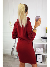 2019 Fall and Winter Fashion Round Collar Long Sleeve Belt Pocket Women Dress
