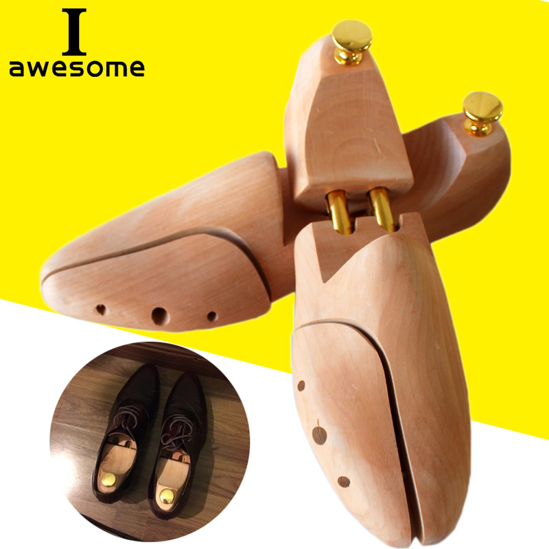 1 Pair Adjustable Shoe Trees Spring Solid Wood Men's Shoe Support Metal Knob Shoe Shaping Women's Shoe's Care Stretcher Shaper