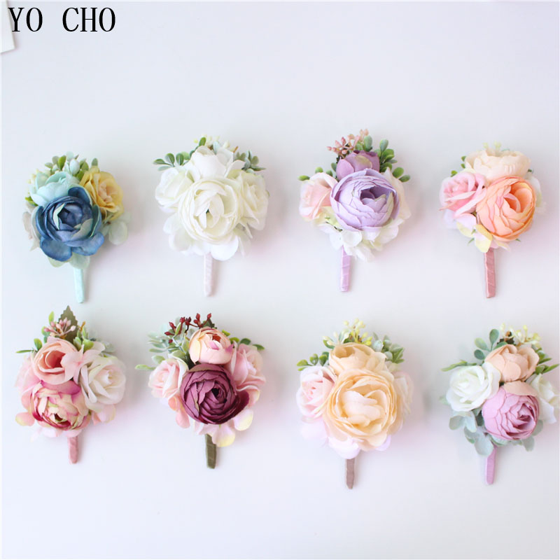 YO CHO Bridegroom Wedding Boutonniere Bride Wrist Corsage Men Wedding Meeting Party Unique Personal Adornment Artificial Flowers