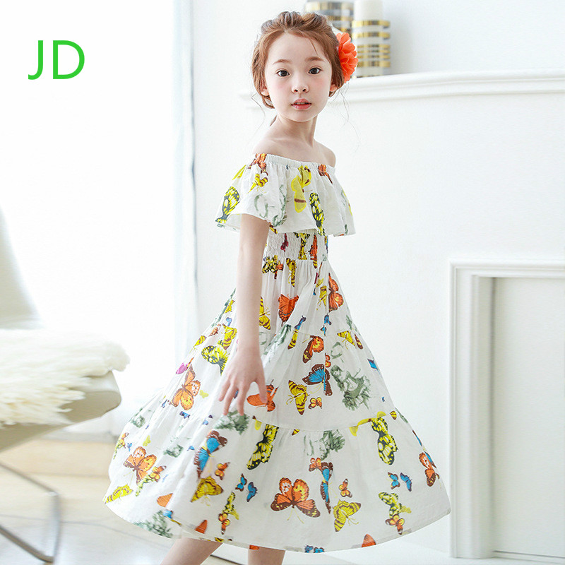 New Girl Bohemia Dress Children's Beach Dress The Printed Sleeveless Dresses of The Girls open shoulder printed dress