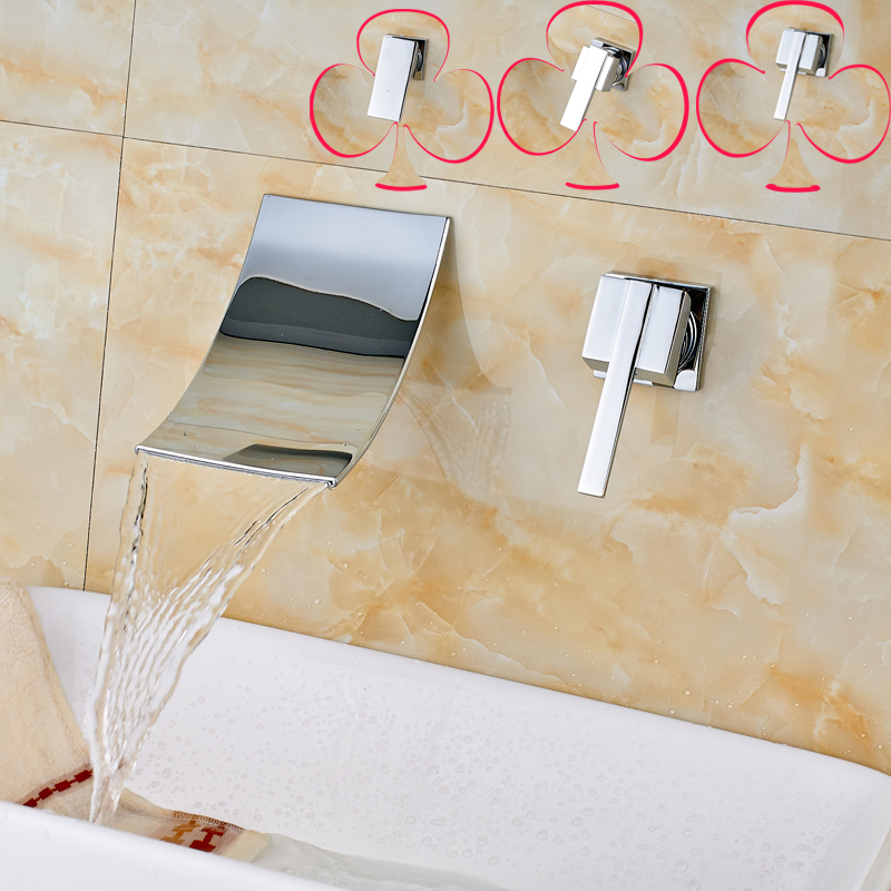 Polished Chrome Wall Mounted Single Handle Waterfall Basin Faucet Dual Hole Brass Bathroom Sink Mixer Taps