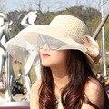 2016 Летом женские Девушки Шляпы Панама Соломы Женские Шляпы От Солнца, Цветов Пляж Hat JA9009