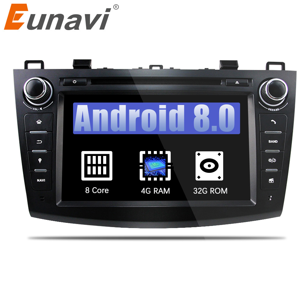 Eunavi Octa Core 2 din 8'' Android 8.0 Car DVD Player for 2010 2011 2012 2013 MAZDA 3 stereo radio GPS Navigation wifi usb sd bt цена