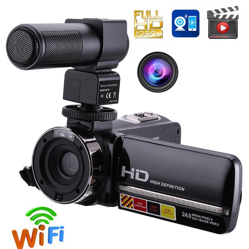 Filmadora Full HD 1080 P Controle Remoto Câmera de Visão Noturna Infravermelha 24MP 16X Zoom Digital Câmera de Vídeo w/Microfone tela sensível ao toque