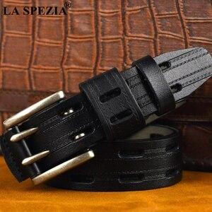 Image 3 - Ремень LA SPEZIA мужской кожаный, винтажный дизайнерский пояс ручной работы, с двойной пряжкой в стиле ретро, цвет Бургунди