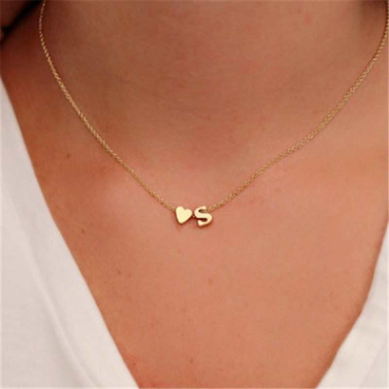 Tiny Heart Initial Necklace Personalized Letter Necklace Name Jewelry For Women Friend Lover Couple Necklace Choker Chocker neck in Choker Necklaces from Jewelry Accessories