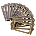 Hot sale 12Pcs Antique Brass Metal Label ,Pull Frame Handle File Name Card Holder ,Brass Label Holders Free Shipping