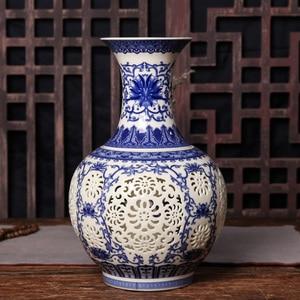 Image 2 - Jingdezhen Hollow Ceramic Vase Chinese Blue And White  Pierced Vase Living Room Decoration Porcelain Flower Vase