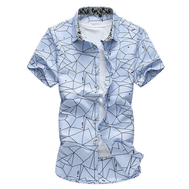 98c49b73f2a Mens Square Collar Casual Short-sleeved Shirt Irregular Pattern Summer  Cotton Shirt White Sky Blue Big Size M-7XL