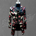 Bigbang Stage Coat Men Singers Flower Print Long Design Leather Suit Jacket Nightclub Bar Show Costumes Clothing  free shipping