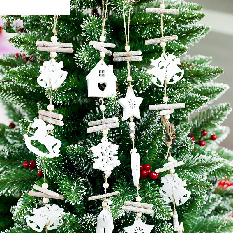 1pc Wooden Craft Christmas Tree Decor Hanging Pendant Bell Snowflake House Ornament Christmas Decoration for Home Xmas Party