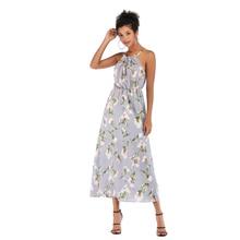Ladies Spaghetti Strap Sleeveless Printing Slim Chiffon Long Dress Womens Vogue Elegant Halter Figure-Flattering Sweet Dresses