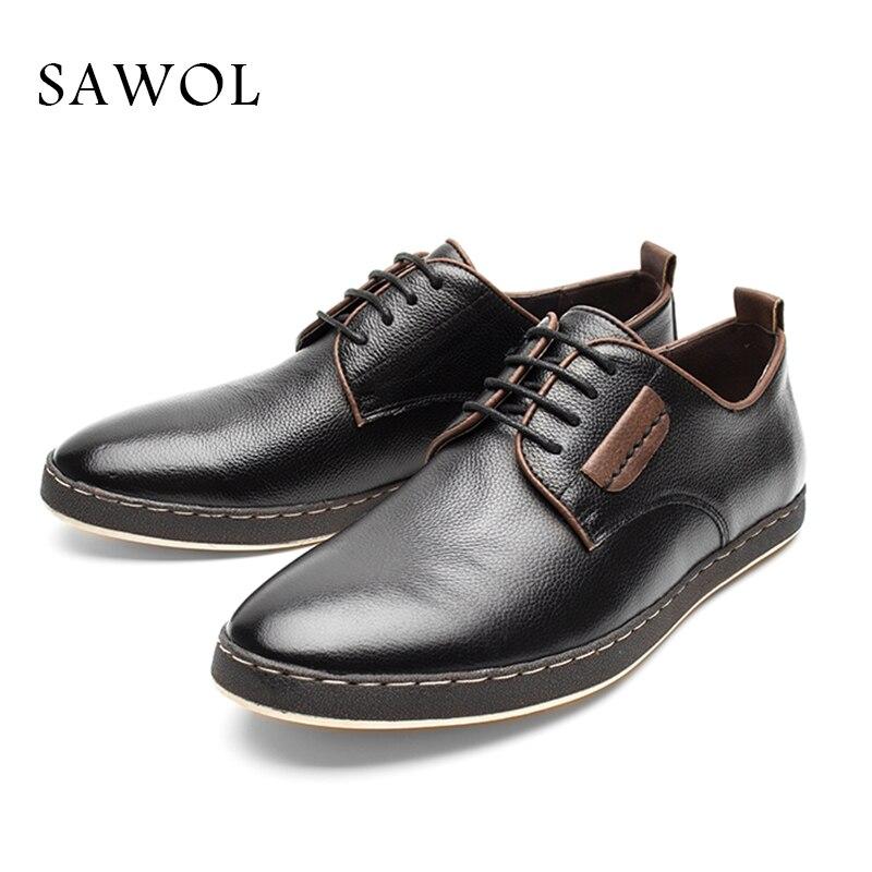 Vache Appartements Glissement En Cuir Ressort Sneakers Sur Véritable Casual De Hommes Grande Automne Chaussures Black Plus Sawol Taille Oxford qO0pqAdYW