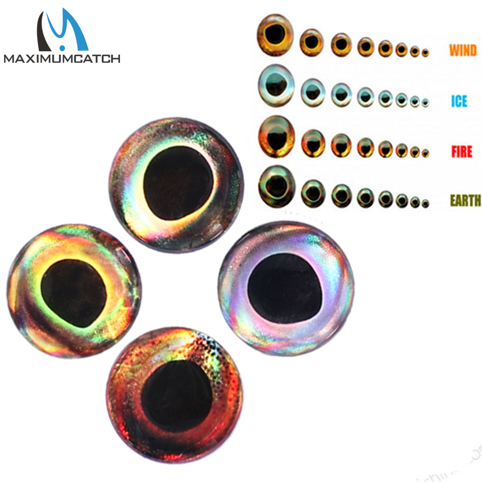 Maximucatch 4D Fishing Lure Eyes Fly Tying Material Fish Eyes Fishing Lure Making 3mm-15mm 24-252 pieces