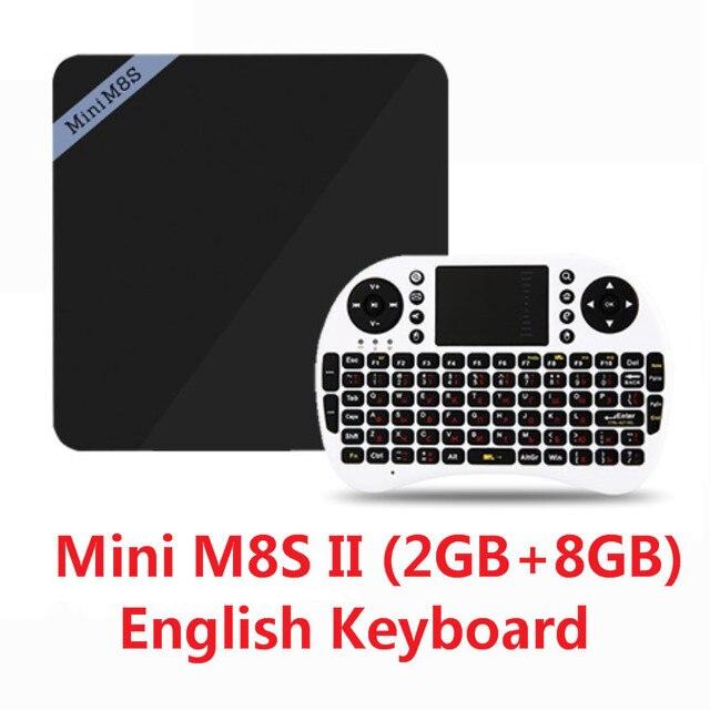 Mini M8S II Caixa Smart TV Set-top Box 4 K Amlogic S905X Quad Core Android 6.0 2.4 GHz WiFi 1/2 GB RAM 8 GB Media Player