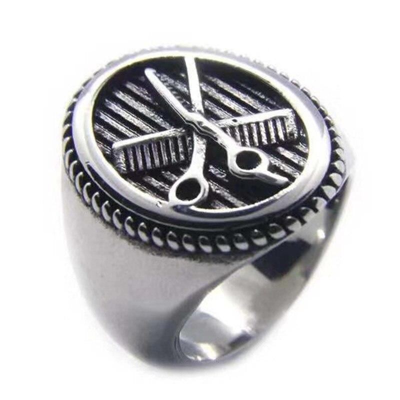 Soporte triangulación de envíos, nuevo diseño, tijeras, peine, anillo de peluquería, joyería de acero inoxidable 316L, anillo de salón de barbería a la moda