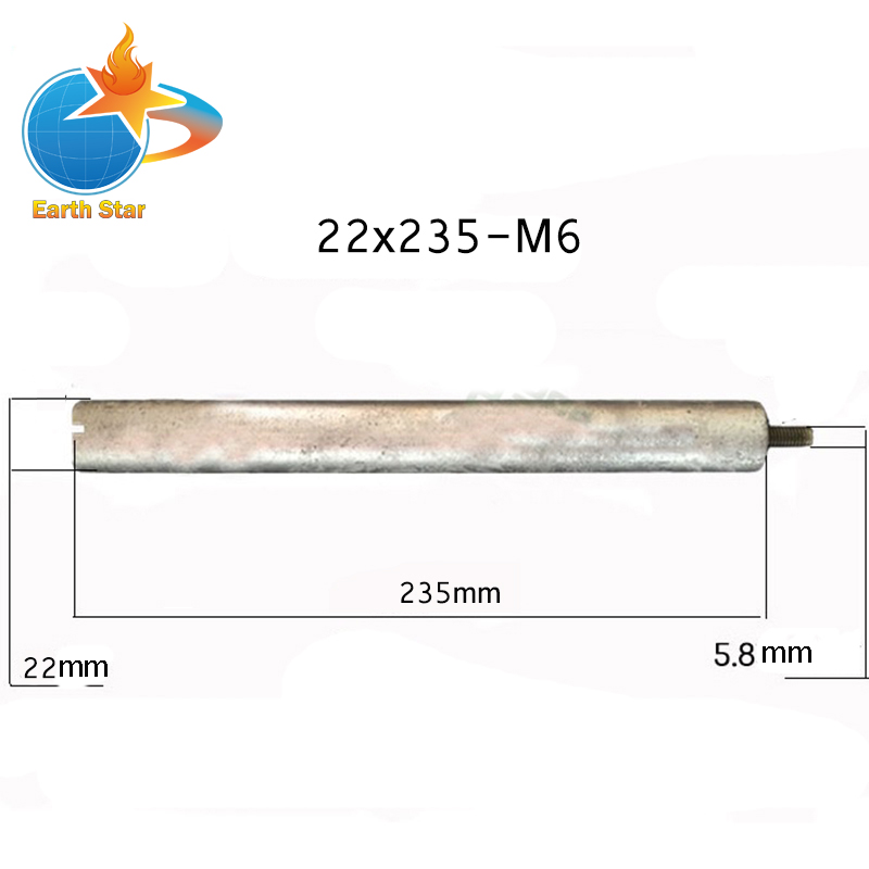 22*235mm-M6 Magnesium Anode Rod for Solar Water Heater Systems With 1 Copper Nut 100 liter solar water heater tank 220v with copper coil with electrical element solar water tank