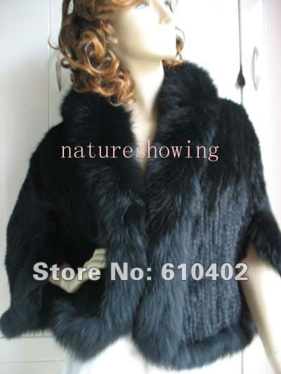 free shipping 100 real mink and real fox collar with sleeves cape vest wholesale black