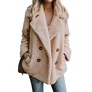2019 Winter Coats Women Suit Collar Buttons Pockets Thick Woolen Coats Casual Loose Solid Long Sleeve Keep Warm Outwears Female(China)