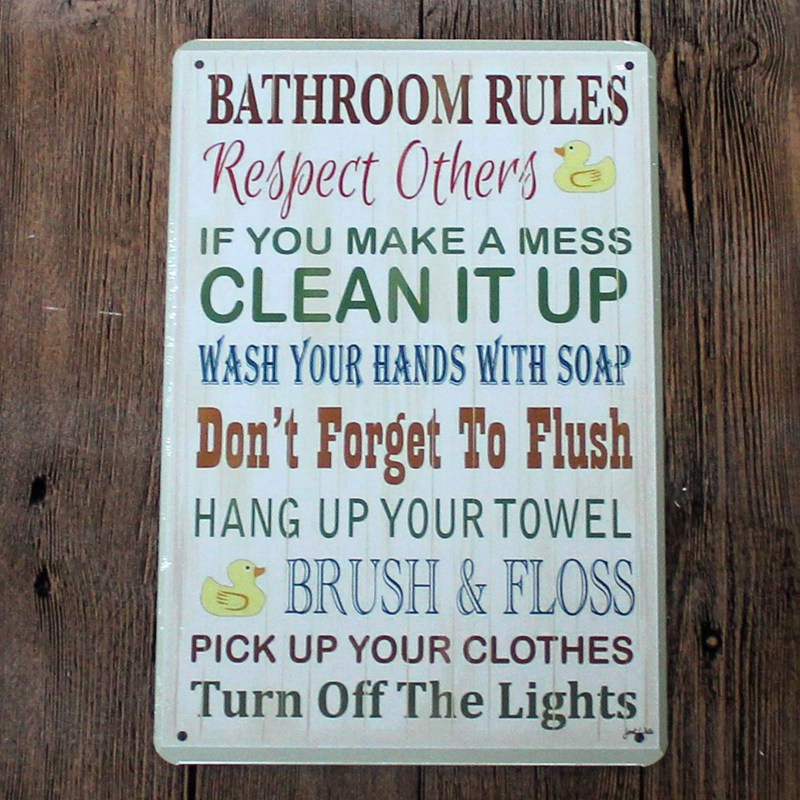 Bathroom Rules Vintage Home Decor New Arrival Shabby Chic 20 30 Decorative Metal Sign House