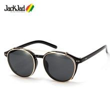 JackJad 2018 Moda Estilo SteamPunk Óculos de Sol Óculos de Lente Removível  Clip On Rodada Do Vintage Design Da Marca Óculos de S.. a4fdfd24b5