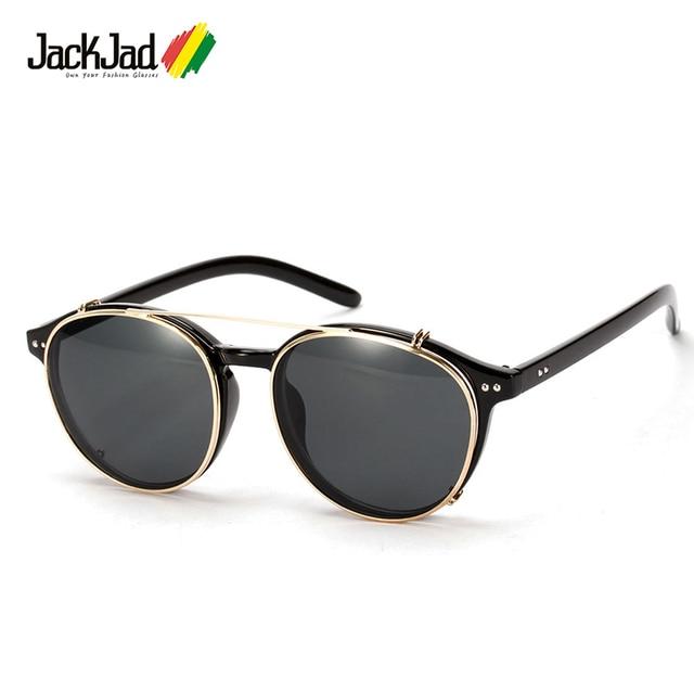 ee1395fb48691 JackJad 2018 Moda Estilo SteamPunk Óculos de Sol Óculos de Lente Removível  Clip On Rodada Do