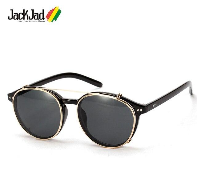 8b9d545957a59 JackJad 2018 Moda Estilo SteamPunk Óculos de Sol Óculos de Lente Removível  Clip On Rodada Do