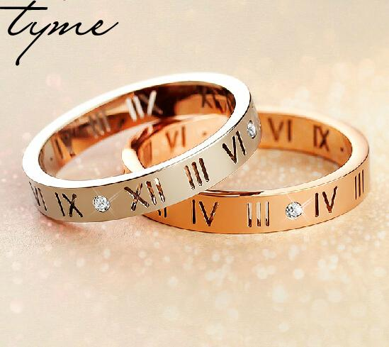 2016 Hot Selling Roman Numerals Love Ring For Women Men Size Couple Lover Gift Gold plate, Rose Gold, Steel Color for woman gift gold and silver forever love steel couple ring for men 8 size