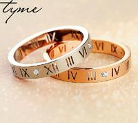 2016 Hot Selling Roman Numerals Love Ring For Women Men Size Couple Lover Gift Gold plate, Rose Gold, Steel Color for woman gift