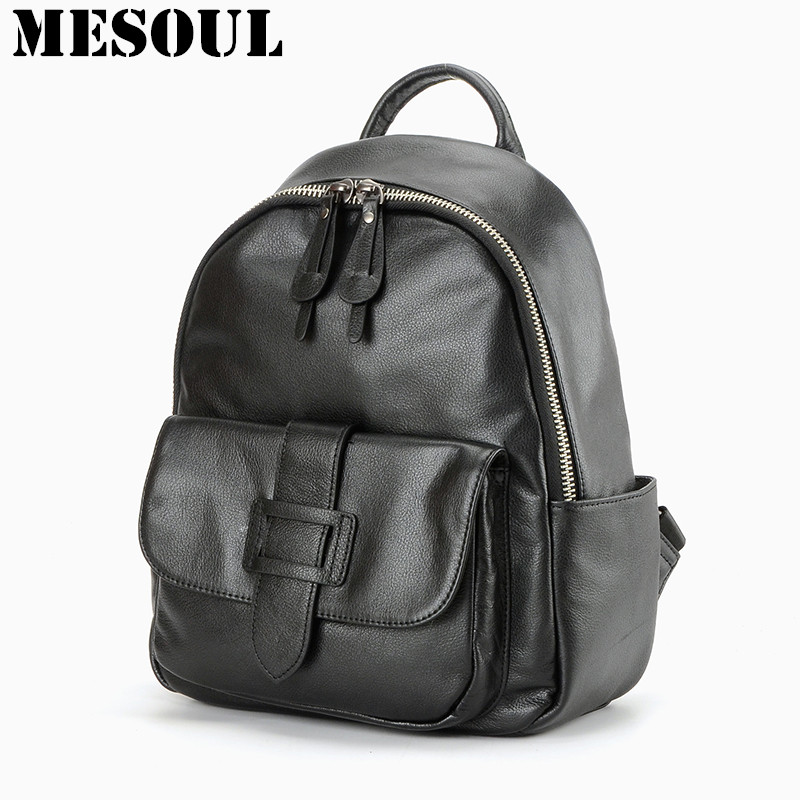 Fashion Women Backpack For Girls Genuine Leather School Shoulder Bag Female Backpacks Casual Daypacks Famous Brand Backpack 2018 annmouler famous brand women leather backpack alligator backpacks high quality elegant shoulder bag black school bag for girls