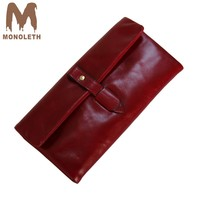 MONOLETH 2018 New Design Fashion Multifunctional Purse Genuine Leather Womens Wallets And Purses Long Style Cowhide