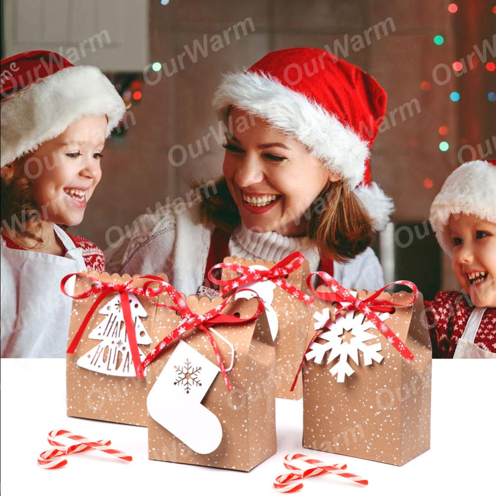 OurWarm 4Pcs Kraft Paper Bags Candy Bar Sweet Candy Cookie Packaging Box with White Tag Ribbon New Year 19 Christmas Gift 1