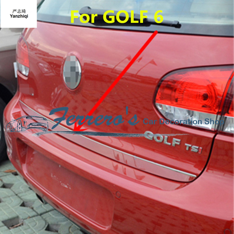 1pc car styling for 2010-2017 Volkswagen <font><b>VW</b></font> <font><b>GOLF</b></font> 6 MK6 <font><b>GOLF</b></font> <font><b>7</b></font> MK7 Stainless Steel back rear trunk Protection decoration sequins image