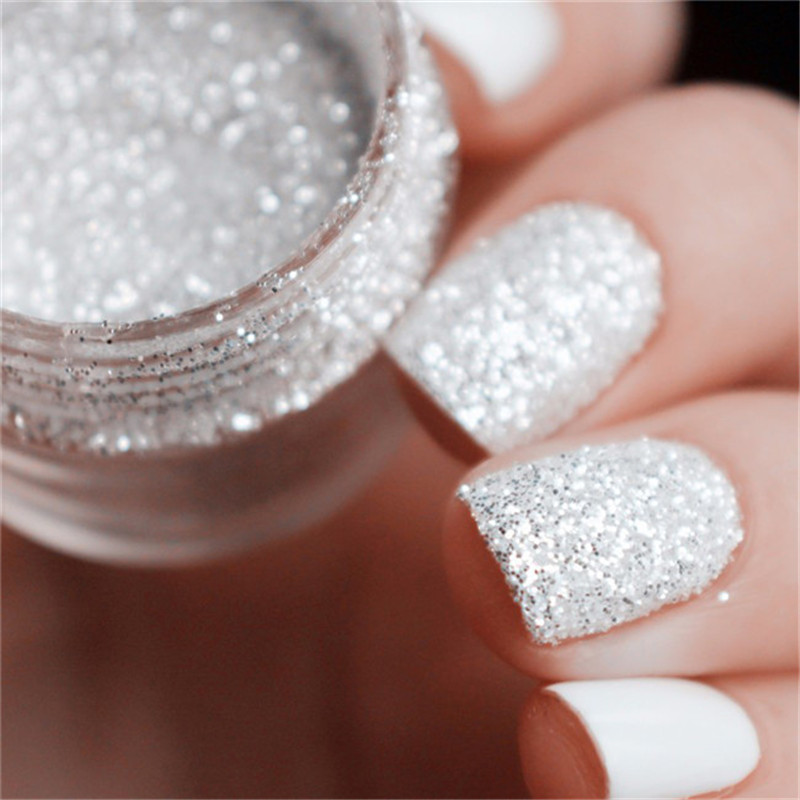 10ml / Box Mixed Laser Nail Glitter Tips Vit Silver Glitter Pulver Glänsande Nail Glitter Pulver 1mm & 2mm & 3mm Nail Art Decoration