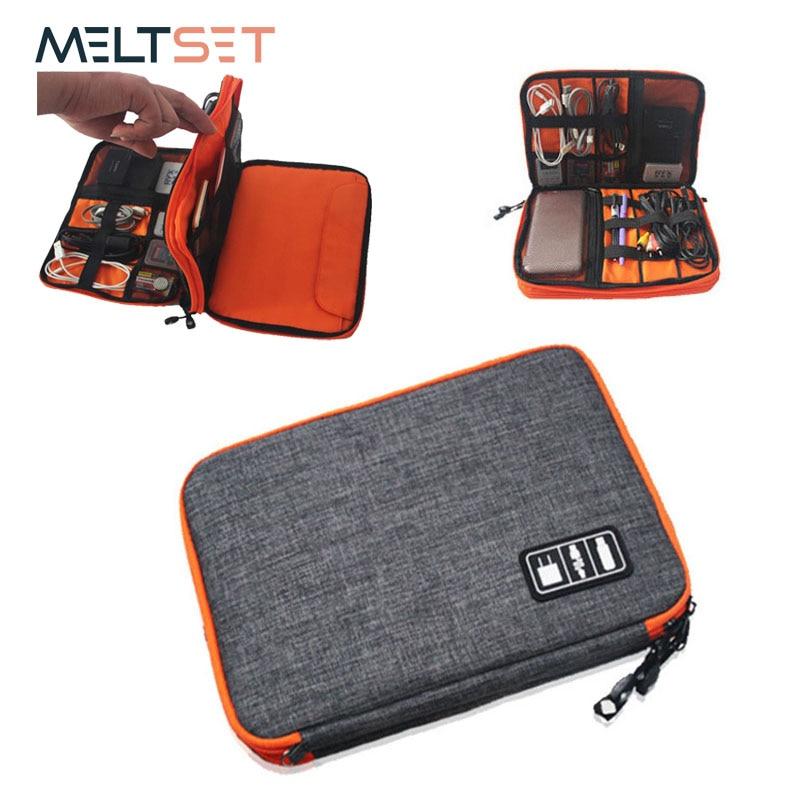 Dubbelskikts digital digitalpåse Elektronisk organiserbar bärbar resväska för USB-hörlurar