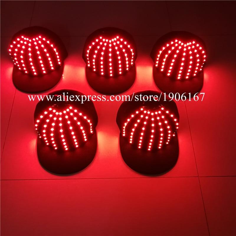Wholesale 5 Pcs LED Luminous Hats Light Up Party Cap Halloween Christmas Stage Performance Headwear Dancing Bar DJ Birthday Gift