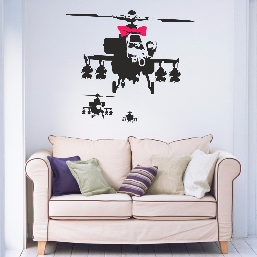 Banksy Style 3 Helicopters Amp Pink Bow Black Removable