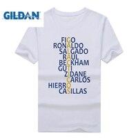 Gildan الساخنة مدريد الرجعية تي شيرت figo المتقاطعة بيكهام جوتي المشجعين zidane كارلوس كاسياس ريال القمصان لل رونالدو راؤول